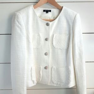 Jones New York White Tweed Blazer